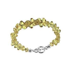 【送料無料】ブレスレット アクセサリ― スターリングシルバースワロフスキーエレメントブレスレットインチsterling silver swarovski elements yellow crystal bracelet 75 inch