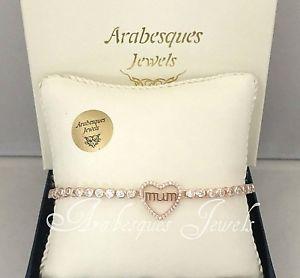 【送料無料】ブレスレット アクセサリ― アラベスクスターリングシルバーローズゴールドテニスブレスレットarabesques genuine 925 sterling silverrose gold love heart, mum tennis bracelet