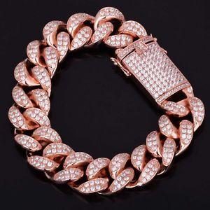 【送料無料】ブレスレット アクセサリ― ヒップホップブリングローズゴールドマイアミリンクチェーンブレスレットアイスiced out hip hop bling rose gold 9 curb curb miami link chain 18mm bracelet