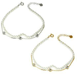 【送料無料】ブレスレット アクセサリ― スターリングシルバーパールチェーンブレスレットsterling silver pearl amp; chain with cz stones double strand bracelet