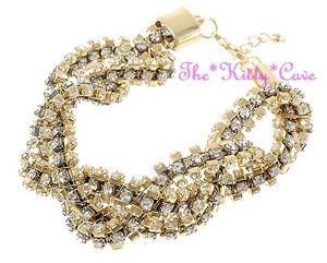 【送料無料】ブレスレット アクセサリ― キャットウォークデザイナーkゴールドメッキクリスタルカフブレスレットcatwalk designer 14k gold plated crystal braided plaited statement cuff bracelet