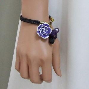 【送料無料】ブレスレット アクセサリ― ローズブレスレット listingpurple rose charm genuine leather bracelet