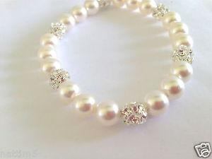 【送料無料】ブレスレット アクセサリ― スワロフスキーパールクリスタルビーズブレスレットswarovski pearl elements amp; preciosa crystal silver plated bead bracelet
