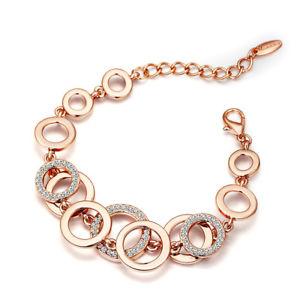【送料無料】ブレスレット アクセサリ― ホワイトオーストリアラインストーンローズゴールドブレスレットfashion clear white austria crystal rhinestone rose gold plated circle bracelet