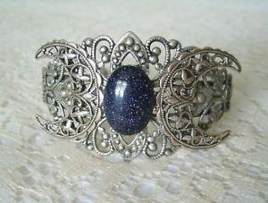 【送料無料】ブレスレット アクセサリ― 3カフスブレスレットwiccanwiccablue goldstone triple moon cuff bracelet, wiccan pagan wicca witch witchcraft