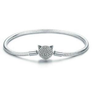 【送料無料】ブレスレット アクセサリ― スネークチェーンプラチナメッキブレスレットglittering cz cat snake chain platinum plated charm bracelet diy b01