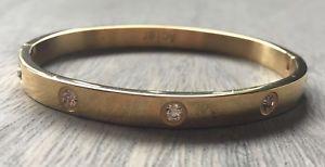 【送料無料】ブレスレット アクセサリ― ブレスレット…スチールゴールドラッシュモードthe bracelet of love l love rush rigid steel gold with rhinestones mode
