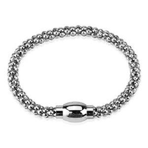 【送料無料】ブレスレット アクセサリ― シルバーバブルスナップキャップチェーンリンクブレスレットsilver hollow bubble chain link bracelet with magnetic snap closure