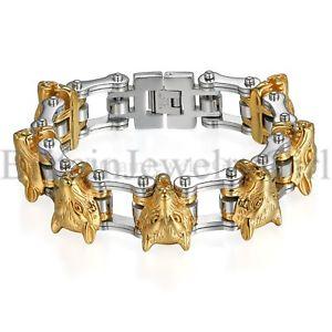 【送料無料】ブレスレット アクセサリ― バイカーパンクオオカミブレスレットステンレススチールリンクbiker punk large heavy stainless steel link of wolf bracelet for men boys 85