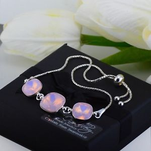 【送料無料】ブレスレット アクセサリ― 925 ブレスレット10スワロフスキーr12mmバラオパール925 silver adjustable bracelet 10amp;12mm rose water opal crystals from swarovski