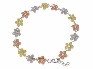 【送料無料】ブレスレット アクセサリ― スターリングシルバーハワイプルメリアブレスレット925 sterling silver tricolor hawaiian plumeria flower bracelet 8mm 7 12