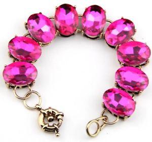 【送料無料】ブレスレット アクセサリ― pink chunky oval crystal rhinestoneデザイナードットチェーンステートメントブレスレットpink chunky oval crystal rhinestone gold designer dot chain st