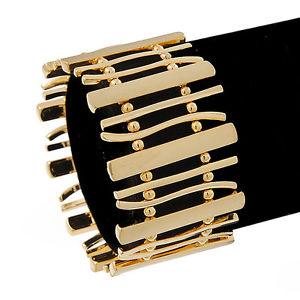 【送料無料】ブレスレット アクセサリ― ゴールドメッキバービーズフレックスブレスレットpolished gold plated bars amp; beads flex bracelet 18cm length