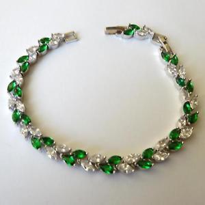 【送料無料】ブレスレット アクセサリ― テニスブレスレットシルバーエメラルドホワイトwomens tennis bracelet silver tone emeralds white cz 807 689 in 332 aa