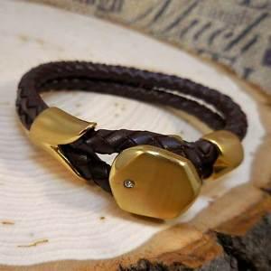 【送料無料】ブレスレット アクセサリ― レザーステンレススチールブレスレットgold braided leather stainless steel 8″ bracelet with cz crystal