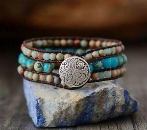 【送料無料】ブレスレット アクセサリ― カフボヘミアンブレスレットハンドメイドwomen cuff bohemian bracelets japser leather wrap handmade weaving stone jewelry