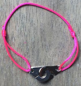 【送料無料】ブレスレット アクセサリ― シルバーブレスレットスチールネオンピンクサテンコードperfect gift for noel silver bracelet handcuffs steel neon pink satin cord