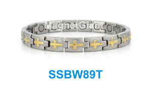 【送料無料】ブレスレット アクセサリ― クロスステンレススチールリンクブレスレットゴールドシルバーcross women magnetic stainless steel link bracelet gold amp; silver