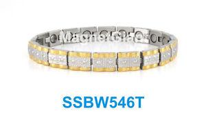 【送料無料】ブレスレット アクセサリ― シルバーゴールドステンレススチールリンクブレスレットsilver and gold women magnetic stainless steel 316l link bracelet ssbw546t