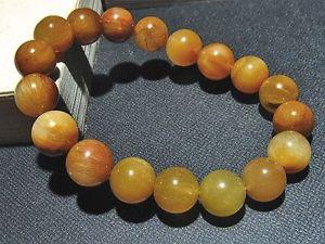【送料無料】ブレスレット アクセサリ― ゴールデンルチルラウンドビーズブレスレット11mm rare natural golden rutilated quartz round beads bracelet gift bl3277