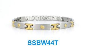 【送料無料】ブレスレット アクセサリ― トーンネジステンレススチールリンクブレスレットゴールドシルバー2 tone screw design women magnetic stainless steel link bracelet gold amp; silver