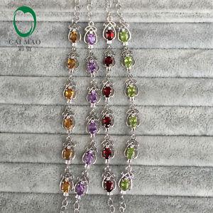 【送料無料】ブレスレット アクセサリ― ペリドットシトリンガーネットアメジストシルバーブレスレットfree shipping fancy oval peridot citrine garnet amethyst 925 silver bracelets