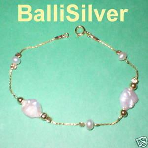 【送料無料】ブレスレット アクセサリ― ゴールドビーズブレスレットサイズ14kt gold filled beads and freshwater keshi pearls bracelet made to your size