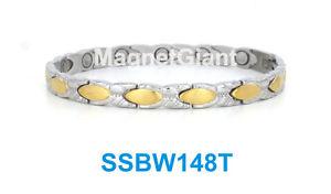 【送料無料】ブレスレット アクセサリ― トーンステンレススチールリンクブレスレット2 tone hugs amp; kisses women magnetic stainless steel link bracelet