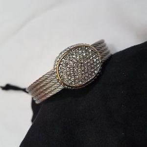 【送料無料】ブレスレット アクセサリ― スカイデザインクリスタルライトスカイトーンカフブレスレットドルhsn emma skye designs crystal light skye 2tone cuff bracelet 62