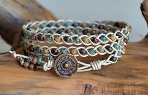【送料無料】ブレスレット アクセサリ― マルチカラーブレスレットピカソビーズラップmulticolor braided leather wrap bracelet handwoven picasso beads yevga 215