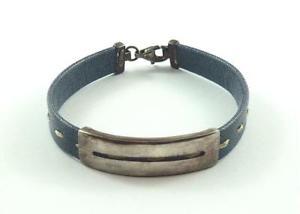 【送料無料】ブレスレット アクセサリ― イタリアスターリングシルバーブレスレットitalian sterling silver amp; blue leather bracelet