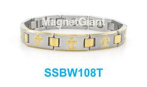 【送料無料】ブレスレット アクセサリ― ゴールドニューオリンズセインツロゴステンレススチールリンクブレスレットgoldamp;silver orleans saints logo women magnetic stainless steel link bracelet