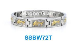 【送料無料】ブレスレット アクセサリ― シルバーイルカハイパワーステンレススチールリンクブレスレットwomen silver amp; gold dolphins, high power magnetic stainless steel link bracelet