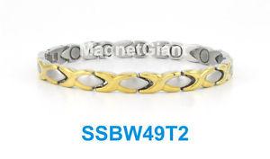 【送料無料】ブレスレット アクセサリ― トーンキスステンレススチールリンクブレスレットゴールドシルバー2 tone hugs amp; kisses women magnetic stainless steel link braceletgold amp; silver