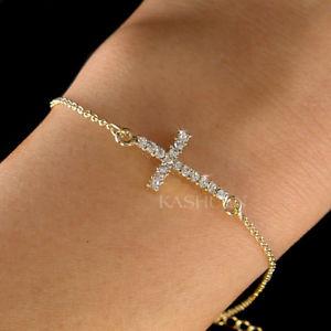 【送料無料】ブレスレット アクセサリ― クロススワロフスキークリスタルゴールドチェーンブレスレット~danity sideways cross made with swarovski crystal religious gold chain bracelet
