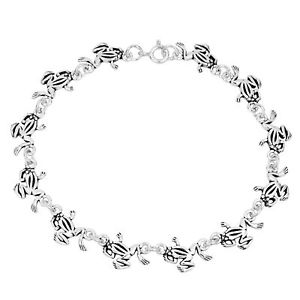 【送料無料】ブレスレット アクセサリ― カエルリンクスターリングシルバーブレスレットwhimsical frog link sterling silver bracelet