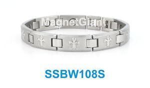 【送料無料】ブレスレット アクセサリ― シルバーニューオーリンズセインツロゴステンレススチールリンクブレスレットsilver orleans saints logo women magnetic stainless steel link bracelet