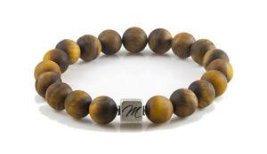 【送料無料】ブレスレット アクセサリ― マットタイガーアイブレスレットスターリングシルバービーズカスタムmatte tiger eye gemstone bracelet large 10mm with sterling silver bead custom