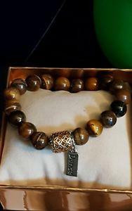 【送料無料】ブレスレット アクセサリ― アプライアンスタイガーアイブレスレットビーズdance tiger eye gemstone stretchy bracelet, w filigree bead, charm