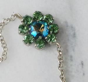 【送料無料】ブレスレット アクセサリ― スワロフスキークリスタルファンシースクエアストーンブレスレットペリドットswarovski crystal 12mm fancy square stone bracelet peridot and eriniteab shimmer