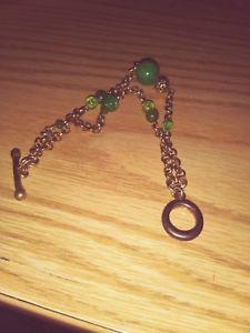 【送料無料】ブレスレット アクセサリ― ゴールドトーンラウンドブレスレットgold tone jade green stone round with cz crystals, double strand bracelet