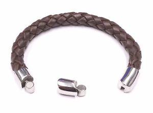 【送料無料】ブレスレット アクセサリ― ブラウンステンレススチールブレスレットワウbrown braided natural leather and stainless steel bracelet wow