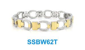 【送料無料】ブレスレット アクセサリ― シルバーゴールドステンレススチールリンクブレスレットsilver amp; gold horseshoe, high power magnetic stainless steel link bracelet