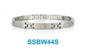 【送料無料】ブレスレット アクセサリ― ネジデザインステンレススチールリンクブレスレットsilver screw design women magnetic stainless steel link bracelet