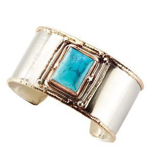【送料無料】ブレスレット アクセサリ― ターコイズドイツシルバーカフブレスレットwomens quadra turquoise german silver cuff bracelet