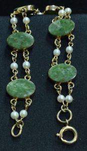 【送料無料】ブレスレット アクセサリ― ゴールドパールブレスレット8 120 12k gold filled bracelet with pearl amp; green marbled stone