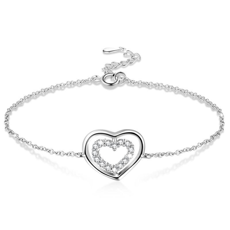 【送料無料】ブレスレット アクセサリ― スターリングシルバーダブルリングブレスレット5x925 sterling silver love double ring adjustable bracelet for women r4b3