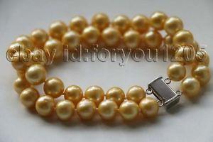 【送料無料】ブレスレット アクセサリ― ダブルゴールデンラウンドパールブレスレット8 double genuine natural 10mm golden round pearl bracelet 14k f3156