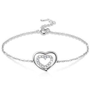 【送料無料】ブレスレット アクセサリ― 5x925スターリングc5t2ダブルブレスレット5x925 sterling silver love double ring adjustable bracelet for women c5t2