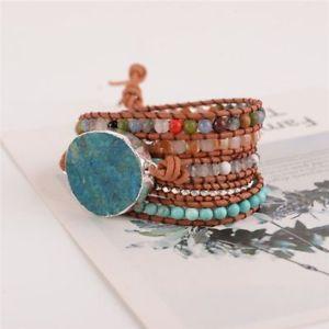 【送料無料】ブレスレット アクセサリ― レザーラップビーズブレスレットシックボヘミアwomen leather wrap beaded bracelet huge ocean stone boho chic bohemian jewelry